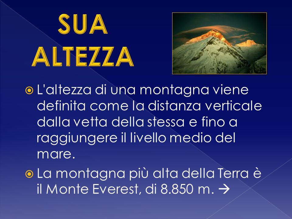 L altezza di una montagna viene definita come la distanza verticale dalla vetta della stessa e fino a raggiungere il livello medio del mare.