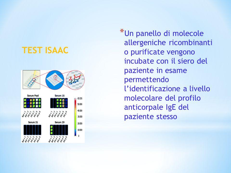 TEST ISAAC * Un panello di molecole allergeniche ricombinanti o purificate vengono incubate con il siero del paziente in esame permettendo lidentifica