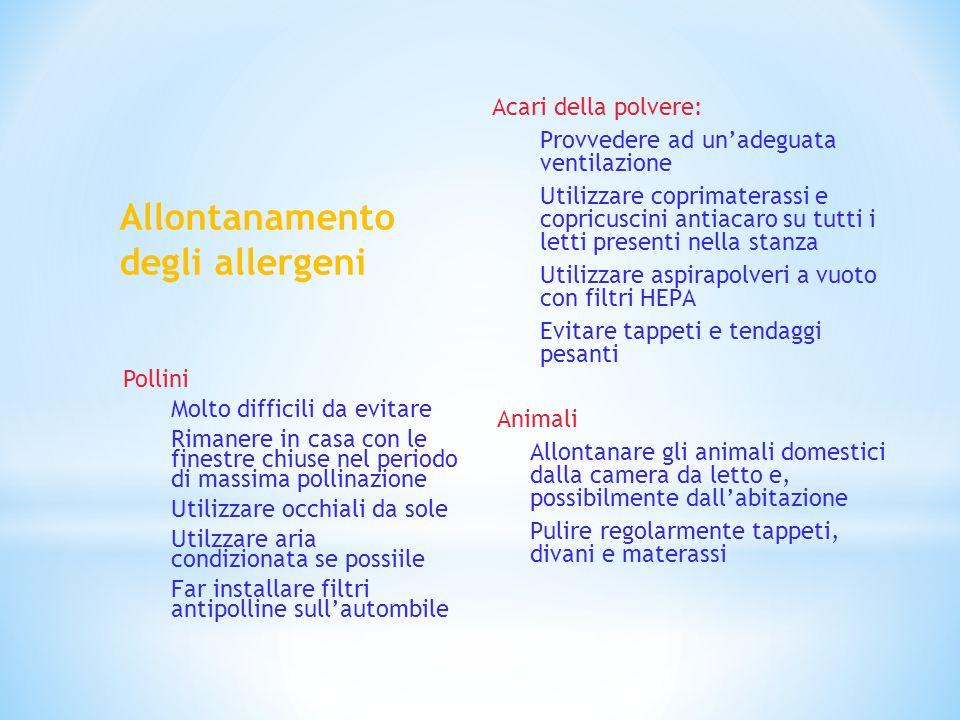 Allontanamento degli allergeni Acari della polvere: Provvedere ad unadeguata ventilazione Utilizzare coprimaterassi e copricuscini antiacaro su tutti