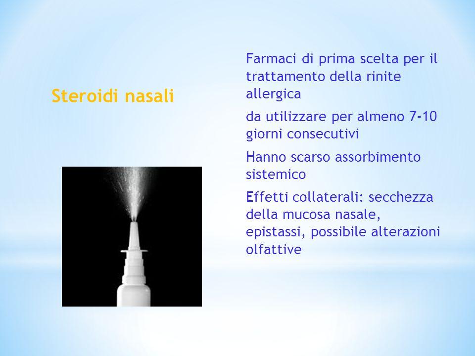 Steroidi nasali Farmaci di prima scelta per il trattamento della rinite allergica da utilizzare per almeno 7-10 giorni consecutivi Hanno scarso assorb