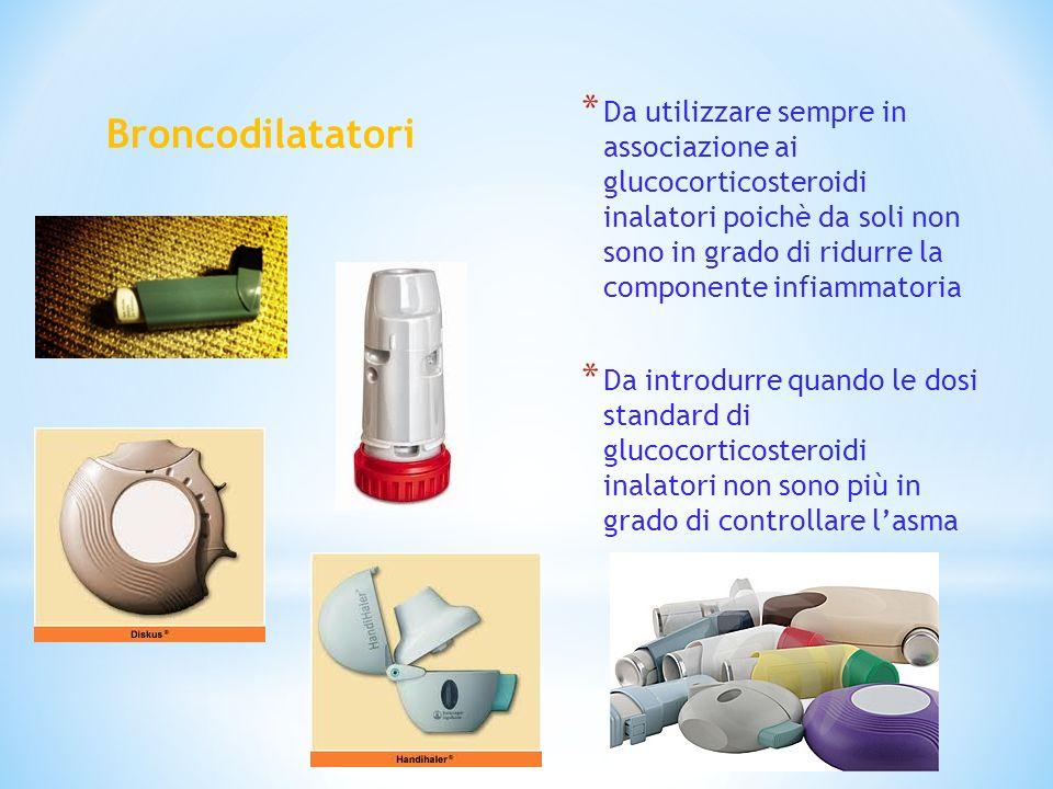 Broncodilatatori * Da utilizzare sempre in associazione ai glucocorticosteroidi inalatori poichè da soli non sono in grado di ridurre la componente in