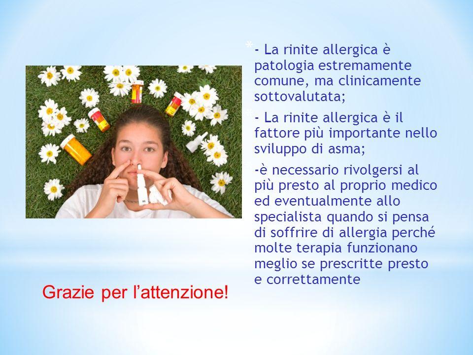 * - La rinite allergica è patologia estremamente comune, ma clinicamente sottovalutata; * - La rinite allergica è il fattore più importante nello svil