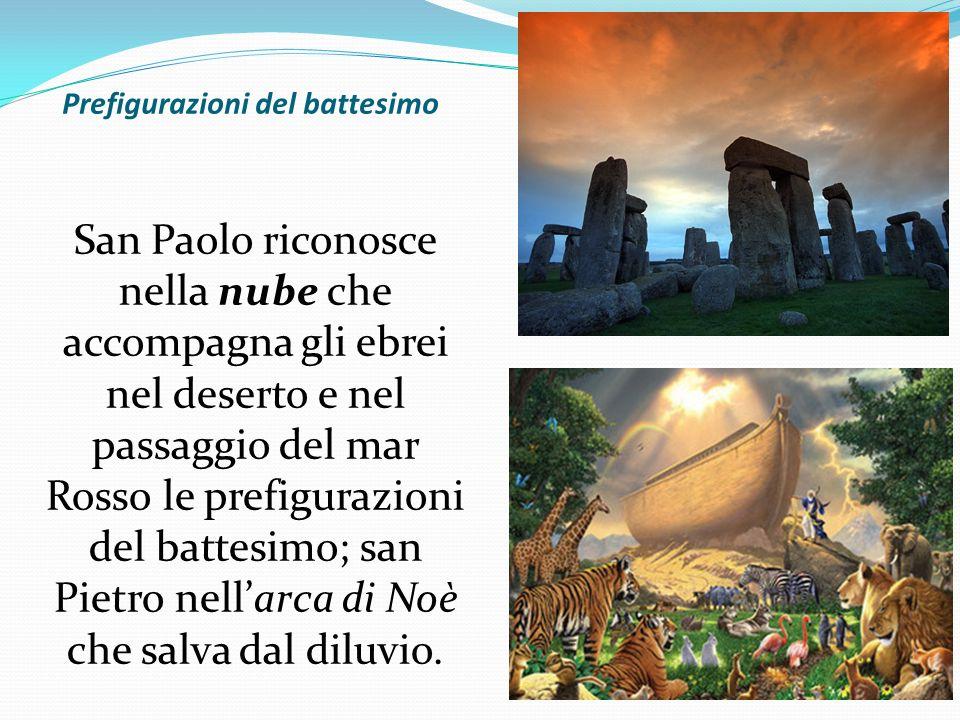 Prefigurazioni del battesimo San Paolo riconosce nella nube che accompagna gli ebrei nel deserto e nel passaggio del mar Rosso le prefigurazioni del
