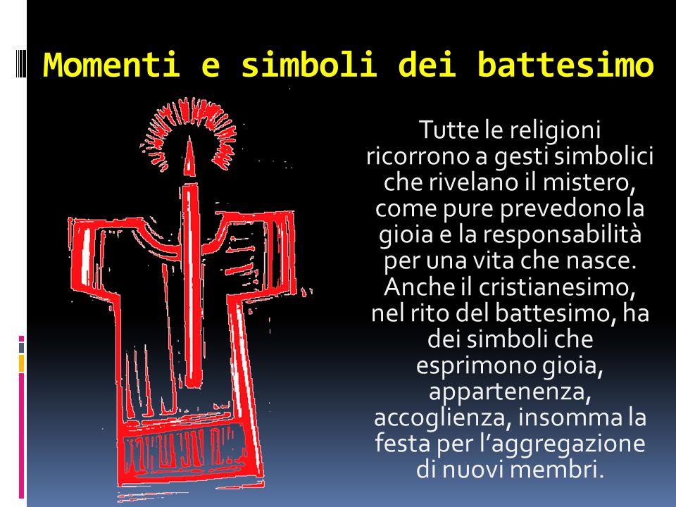 Momenti e simboli dei battesimo Tutte le religioni ricorrono a gesti simbolici che rivelano il mistero, come pure prevedono la gioia e la responsabil