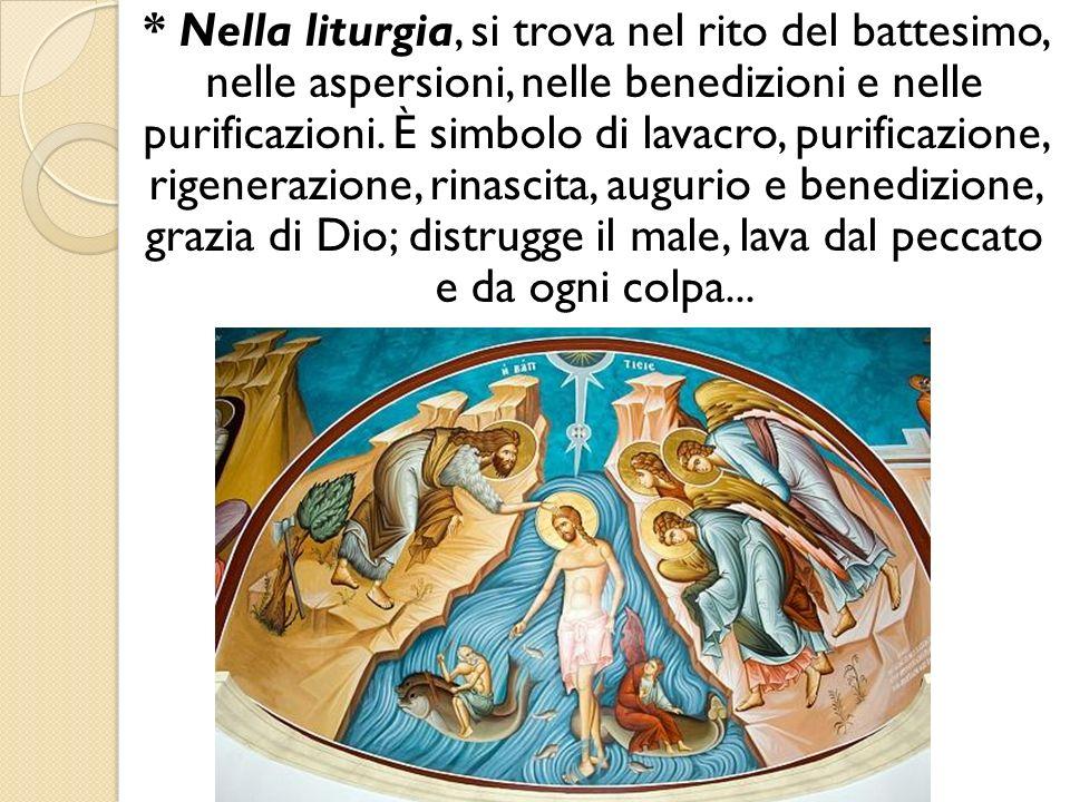 * Nella liturgia, si trova nel rito del battesimo, nelle aspersioni, nelle benedizioni e nelle purificazioni. È simbolo di lavacro, purificazione, ri