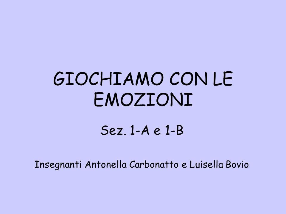 GIOCHIAMO CON LE EMOZIONI Sez. 1-A e 1-B Insegnanti Antonella Carbonatto e Luisella Bovio