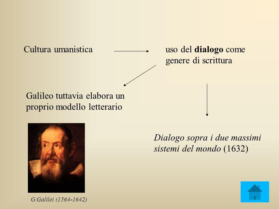 Cultura umanisticauso del dialogo come genere di scrittura Galileo tuttavia elabora un proprio modello letterario Dialogo sopra i due massimi sistemi del mondo (1632) G.Galilei (1564-1642)