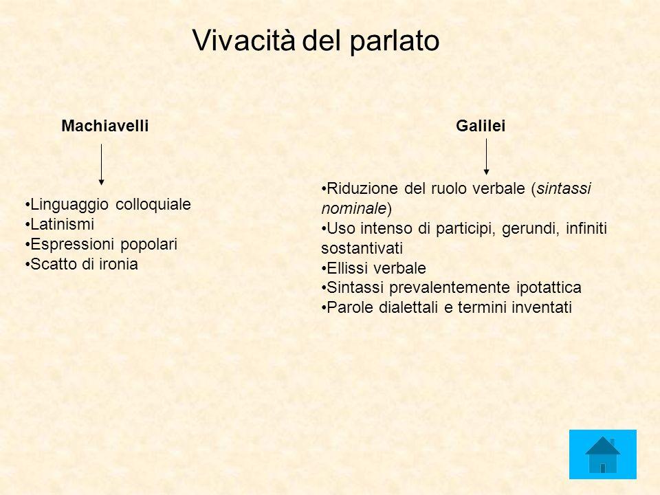 Vivacità del parlato MachiavelliGalilei Riduzione del ruolo verbale (sintassi nominale) Uso intenso di participi, gerundi, infiniti sostantivati Ellis