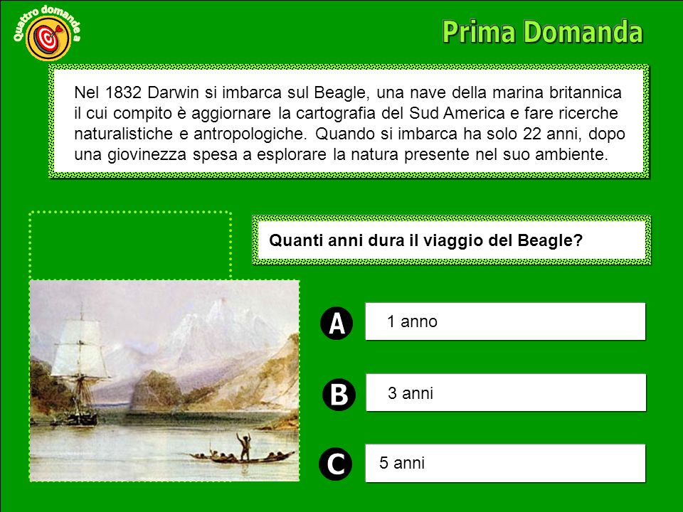 Nel 1832 Darwin si imbarca sul Beagle, una nave della marina britannica il cui compito è aggiornare la cartografia del Sud America e fare ricerche naturalistiche e antropologiche.