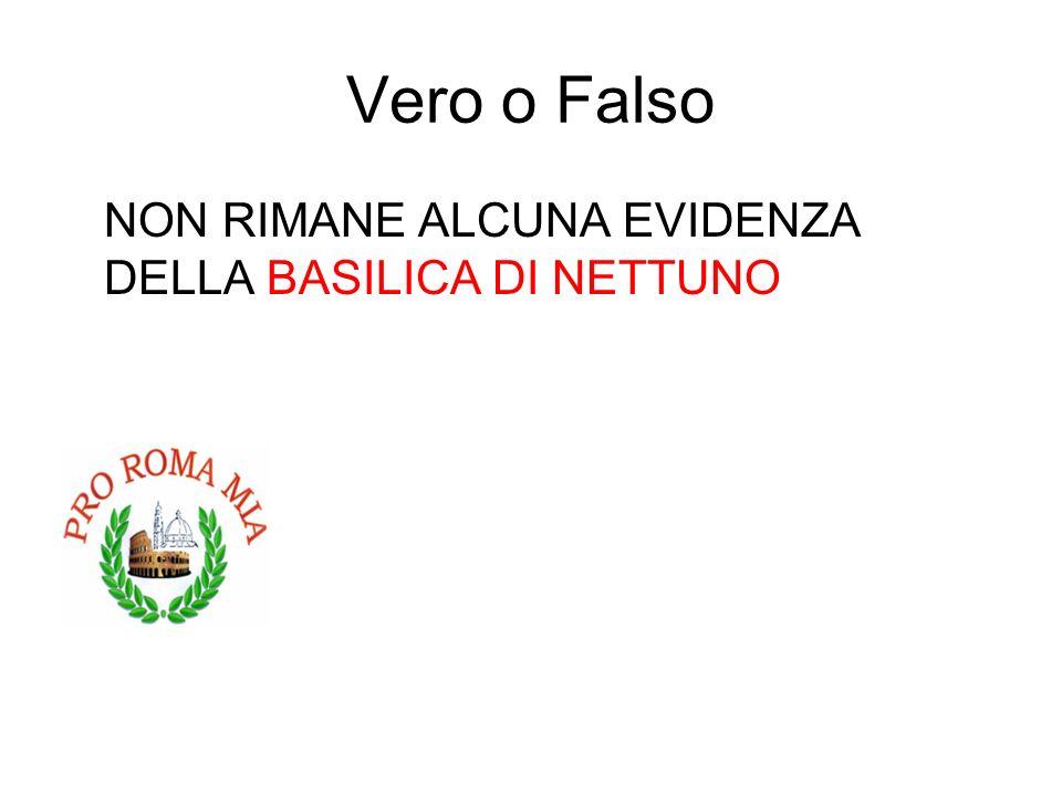 Vero o Falso NON RIMANE ALCUNA EVIDENZA DELLA BASILICA DI NETTUNO FALSO