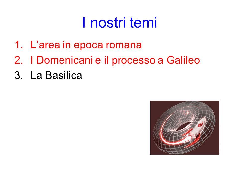 I nostri temi 1.Larea in epoca romana 2.I Domenicani e il processo a Galileo 3.La Basilica