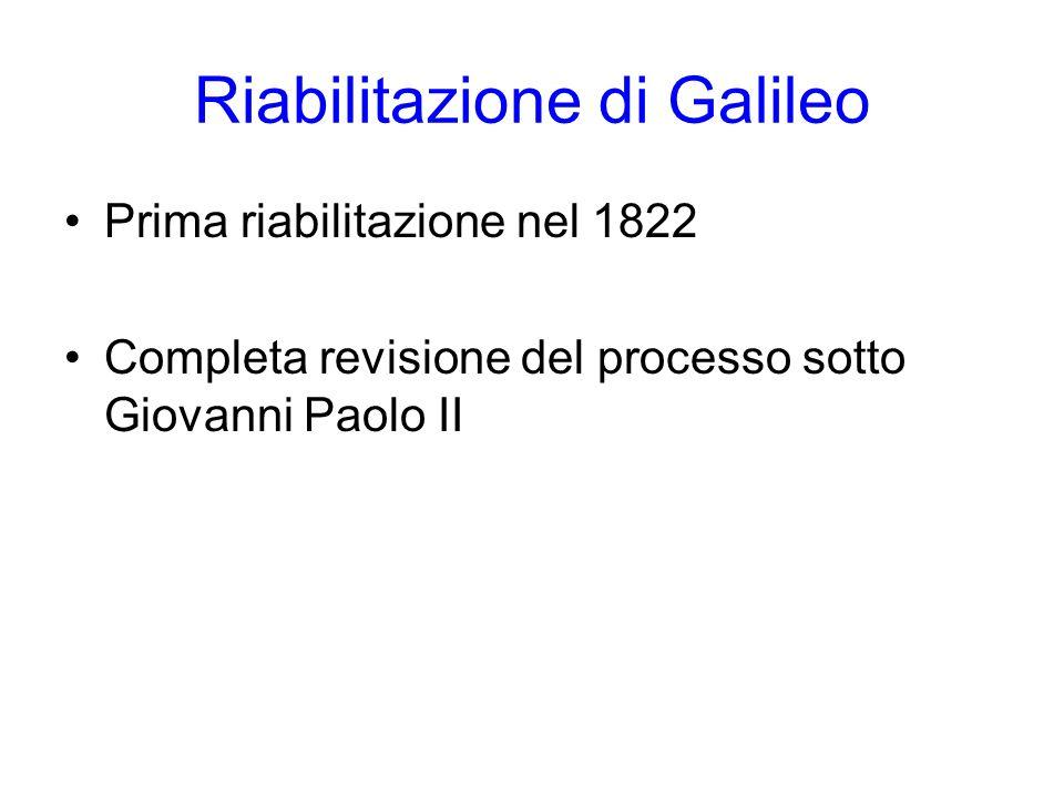 Riabilitazione di Galileo Prima riabilitazione nel 1822 Completa revisione del processo sotto Giovanni Paolo II