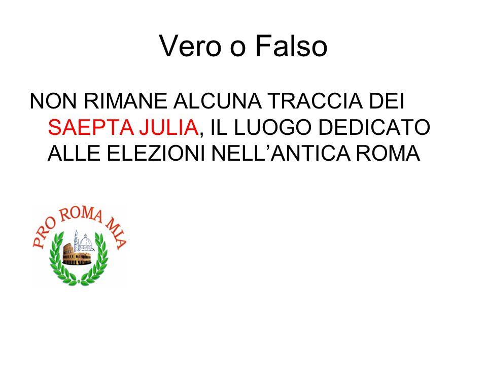 Vero o Falso NON RIMANE ALCUNA TRACCIA DEI SAEPTA JULIA, IL LUOGO DEDICATO ALLE ELEZIONI NELLANTICA ROMA FALSO