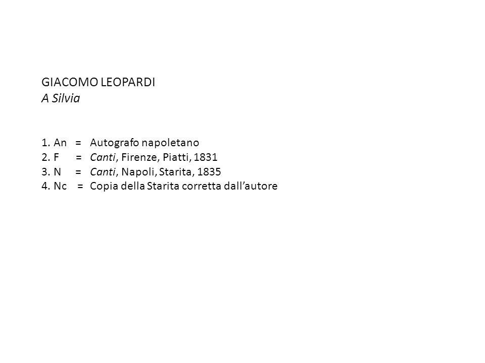 GIACOMO LEOPARDI A Silvia 1. An =Autografo napoletano 2. F =Canti, Firenze, Piatti, 1831 3. N =Canti, Napoli, Starita, 1835 4. Nc =Copia della Starita