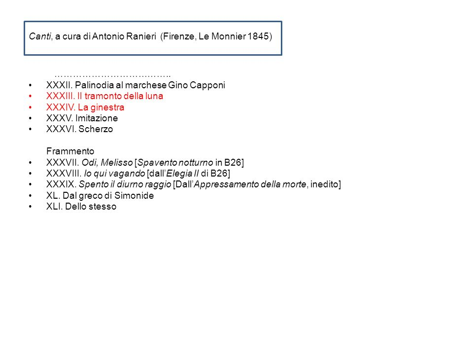 Canti, a cura di Antonio Ranieri (Firenze, Le Monnier 1845) ……………………………….. XXXII. Palinodia al marchese Gino Capponi XXXIII. Il tramonto della luna XX