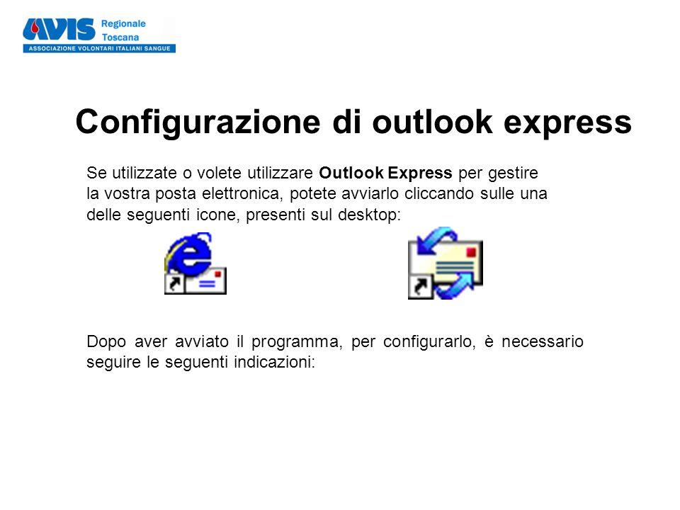 Configurazione di outlook express Se utilizzate o volete utilizzare Outlook Express per gestire la vostra posta elettronica, potete avviarlo cliccando sulle una delle seguenti icone, presenti sul desktop: Dopo aver avviato il programma, per configurarlo, è necessario seguire le seguenti indicazioni: