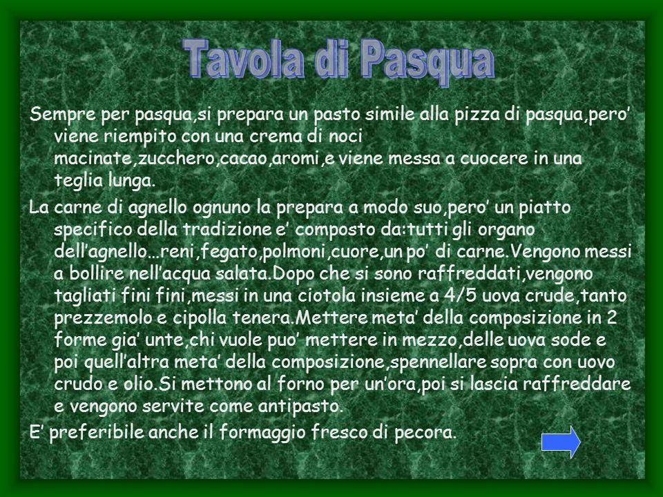 Sempre per pasqua,si prepara un pasto simile alla pizza di pasqua,pero viene riempito con una crema di noci macinate,zucchero,cacao,aromi,e viene messa a cuocere in una teglia lunga.
