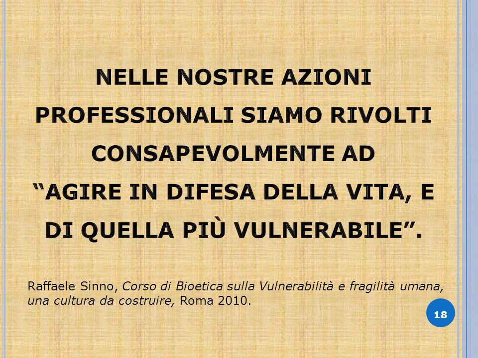 18 Raffaele Sinno, Corso di Bioetica sulla Vulnerabilità e fragilità umana, una cultura da costruire, Roma 2010.