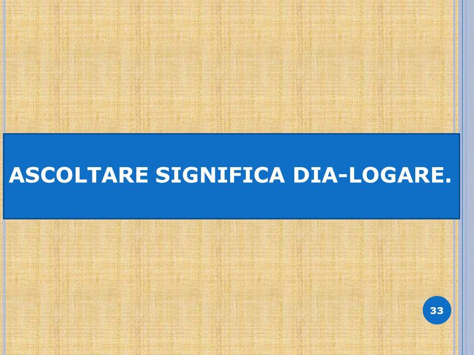 33 ASCOLTARE SIGNIFICA DIA-LOGARE.