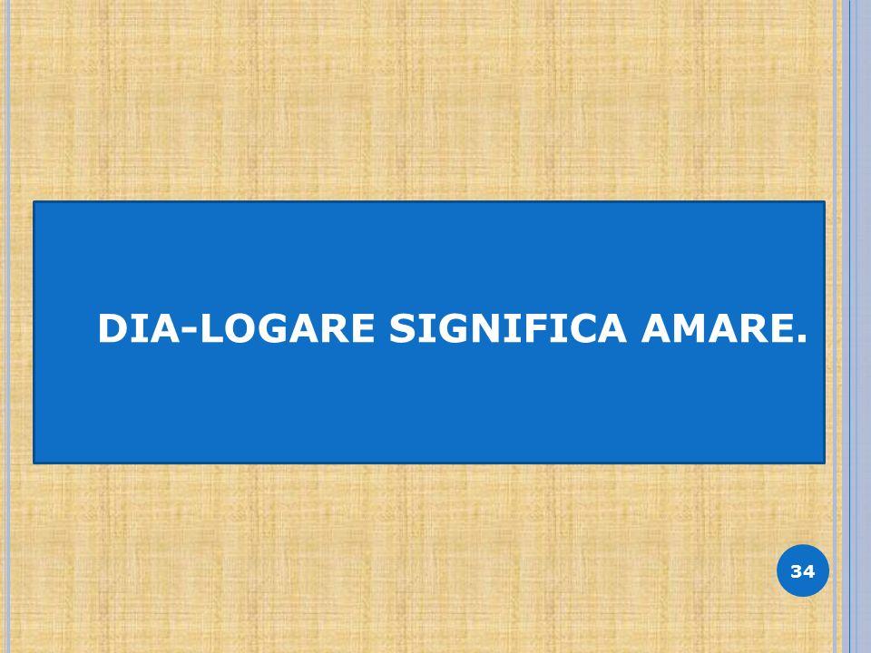 34 DIA-LOGARE SIGNIFICA AMARE.