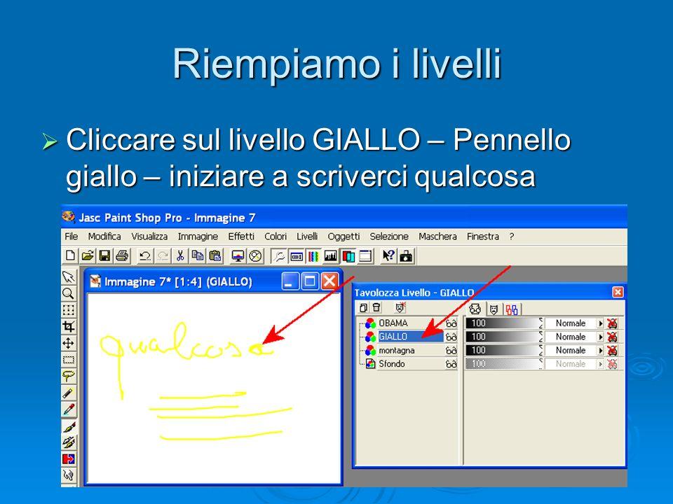 Riempiamo i livelli Cliccare sul livello GIALLO – Pennello giallo – iniziare a scriverci qualcosa Cliccare sul livello GIALLO – Pennello giallo – iniziare a scriverci qualcosa