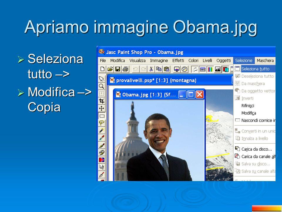Apriamo immagine Obama.jpg Seleziona tutto –> Seleziona tutto –> Modifica –> Copia Modifica –> Copia