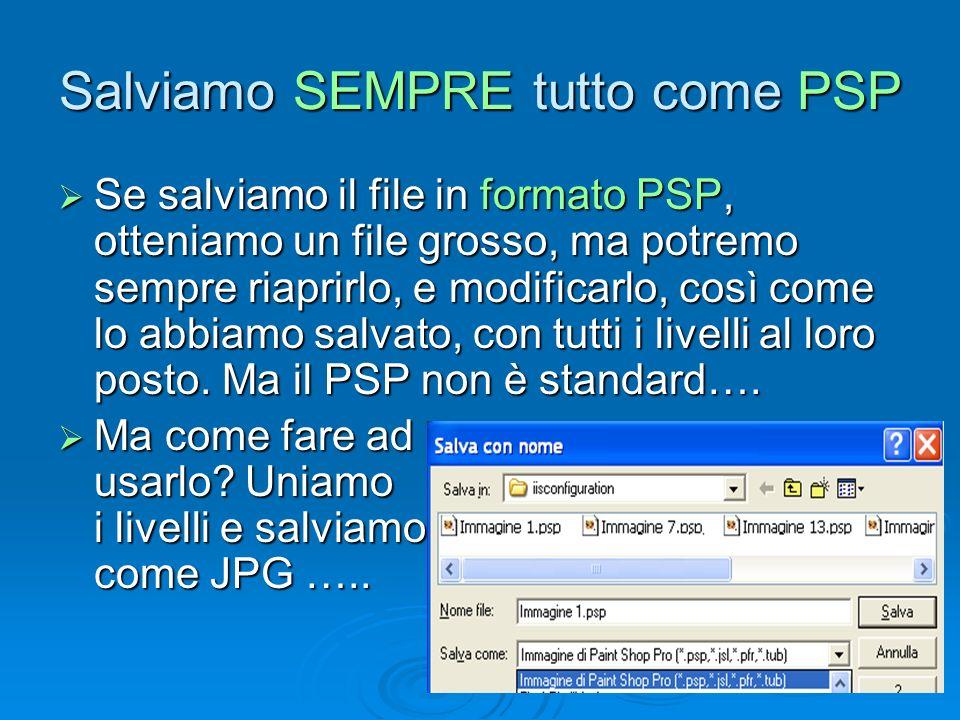Salviamo SEMPRE tutto come PSP Se salviamo il file in formato PSP, otteniamo un file grosso, ma potremo sempre riaprirlo, e modificarlo, così come lo abbiamo salvato, con tutti i livelli al loro posto.