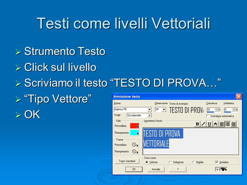 Testi come livelli Vettoriali Strumento Testo Strumento Testo Click sul livello Click sul livello Scriviamo il testo TESTO DI PROVA… Scriviamo il test