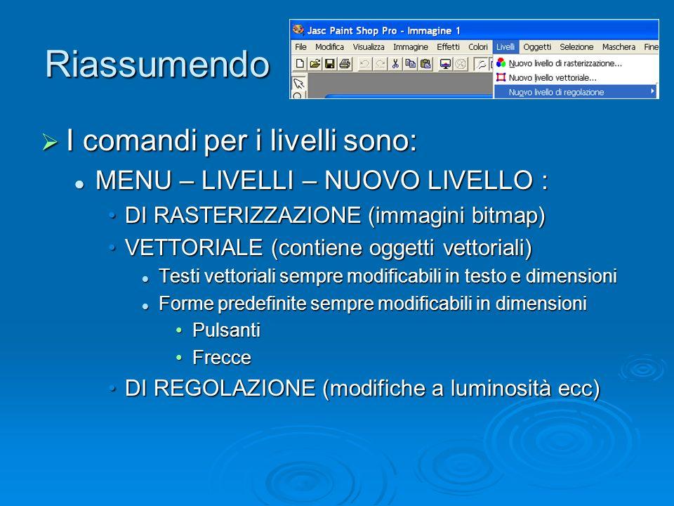 Riassumendo I comandi per i livelli sono: I comandi per i livelli sono: MENU – LIVELLI – NUOVO LIVELLO : MENU – LIVELLI – NUOVO LIVELLO : DI RASTERIZZAZIONE (immagini bitmap)DI RASTERIZZAZIONE (immagini bitmap) VETTORIALE (contiene oggetti vettoriali)VETTORIALE (contiene oggetti vettoriali) Testi vettoriali sempre modificabili in testo e dimensioni Testi vettoriali sempre modificabili in testo e dimensioni Forme predefinite sempre modificabili in dimensioni Forme predefinite sempre modificabili in dimensioni PulsantiPulsanti FrecceFrecce DI REGOLAZIONE (modifiche a luminosità ecc)DI REGOLAZIONE (modifiche a luminosità ecc)