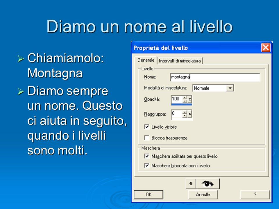 Diamo un nome al livello Chiamiamolo: Montagna Chiamiamolo: Montagna Diamo sempre un nome.