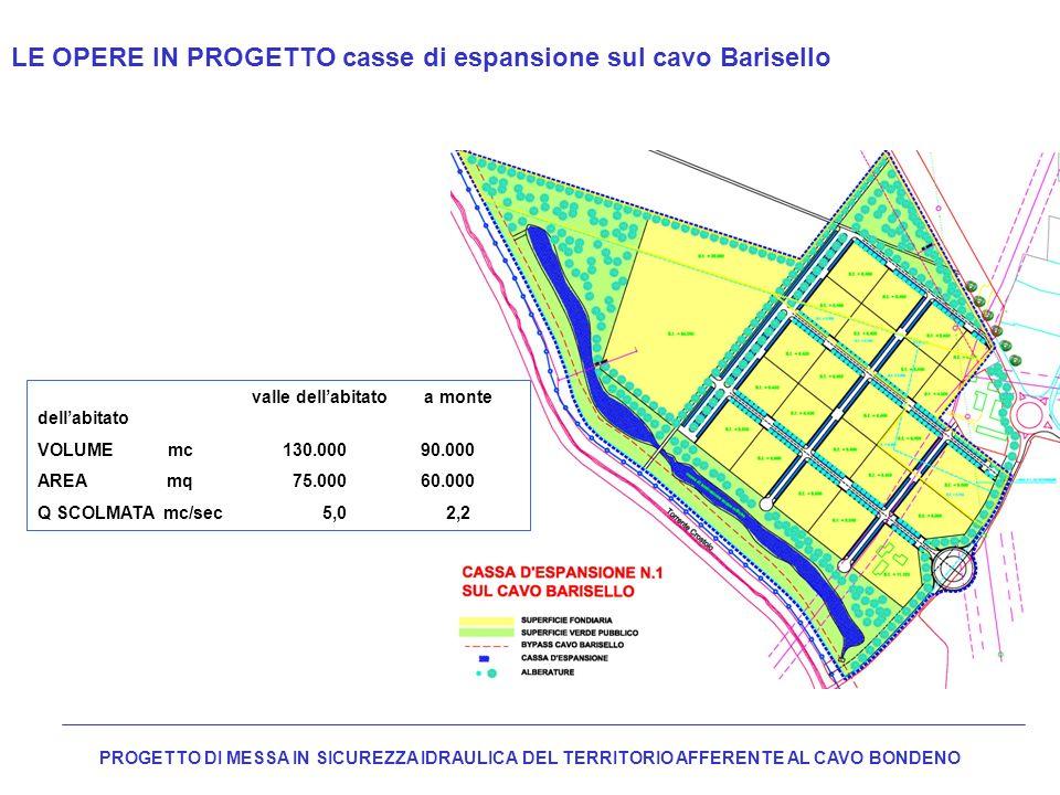 LE OPERE IN PROGETTO casse di espansione sul cavo Barisello PROGETTO DI MESSA IN SICUREZZA IDRAULICA DEL TERRITORIO AFFERENTE AL CAVO BONDENO valle de