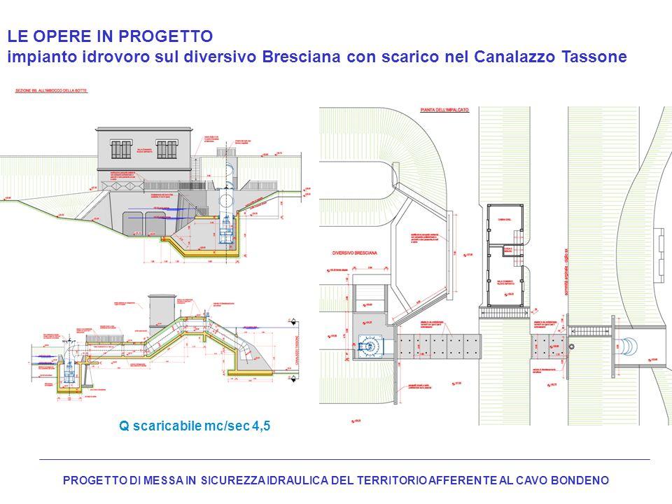 LE OPERE IN PROGETTO impianto idrovoro sul diversivo Bresciana con scarico nel Canalazzo Tassone Q scaricabile mc/sec 4,5 PROGETTO DI MESSA IN SICUREZ