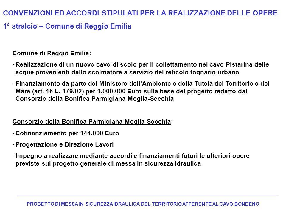 CONVENZIONI ED ACCORDI STIPULATI PER LA REALIZZAZIONE DELLE OPERE 1° stralcio – Comune di Reggio Emilia Comune di Reggio Emilia: -Realizzazione di un