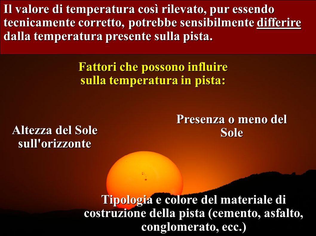 4 Il valore di temperatura così rilevato, pur essendo tecnicamente corretto, potrebbe sensibilmente differire dalla temperatura presente sulla pista.