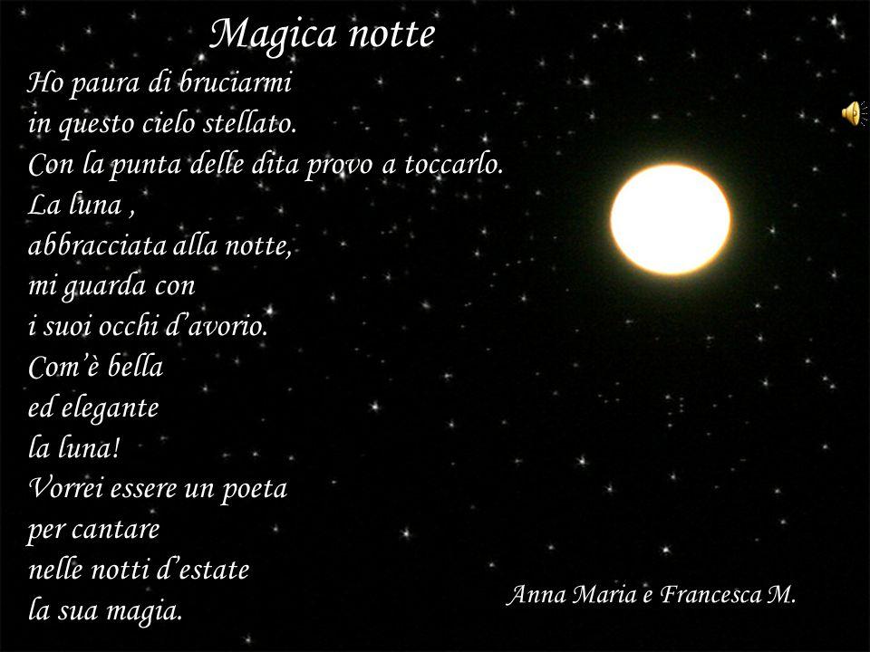 Magica notte Ho paura di bruciarmi in questo cielo stellato. Con la punta delle dita provo a toccarlo. La luna, abbracciata alla notte, mi guarda con