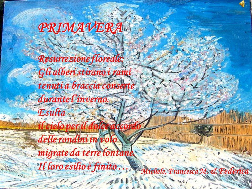 Resurrezione floreale: Gli alberi stirano i rami tenuti a braccia conserte durante linverno. Esulta il cielo per il dolce accordo delle rondini in vol