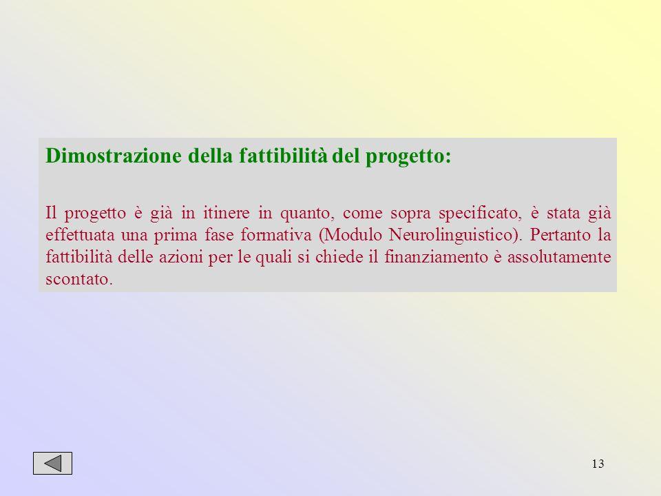 13 Dimostrazione della fattibilità del progetto: Il progetto è già in itinere in quanto, come sopra specificato, è stata già effettuata una prima fase formativa (Modulo Neurolinguistico).