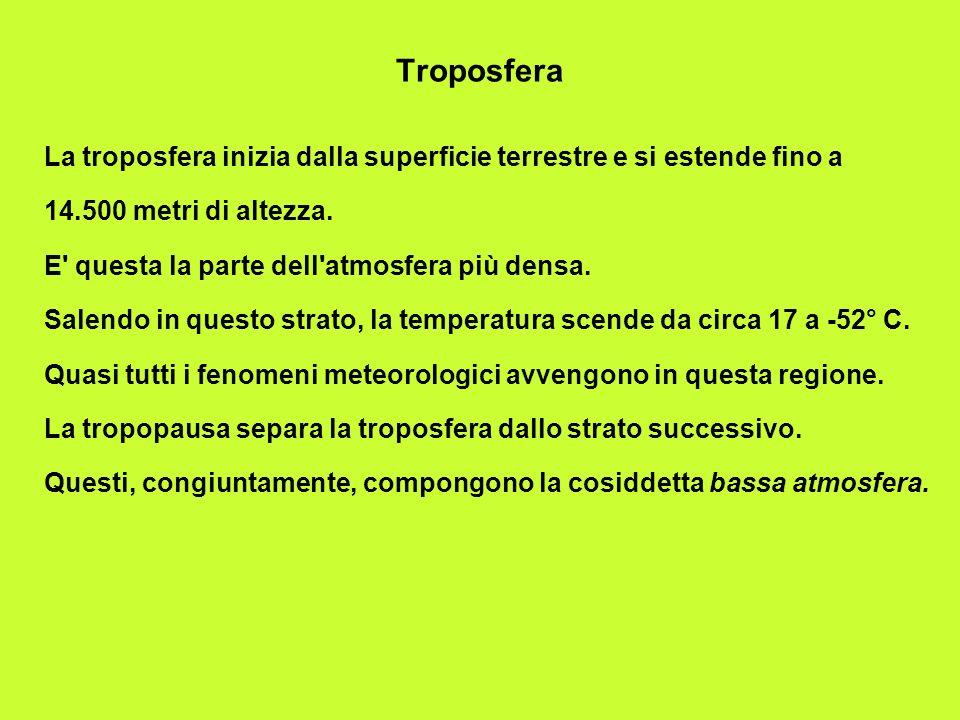 Stratosfera La stratosfera ha inizio appena al di sopra della troposfera e si estende in altezza per 50 chilometri.