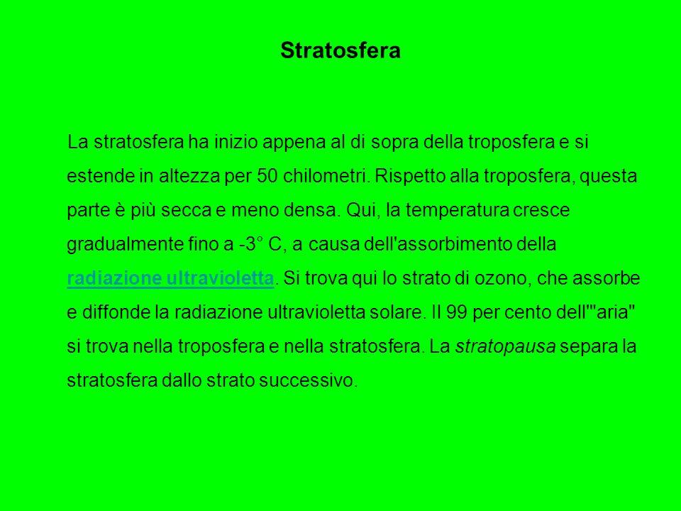 Mesosfera La mesosfera ha inizio poco sopra la stratosfera e si estende per 85 chimoletri di altezza.