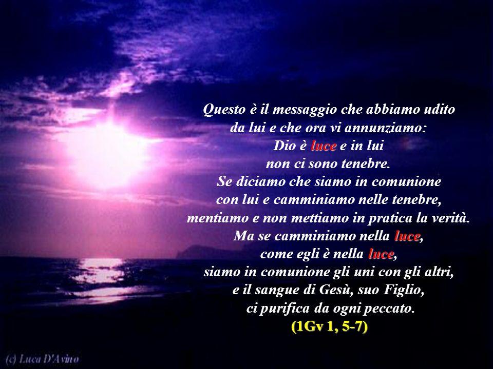 Questo è il messaggio che abbiamo udito da lui e che ora vi annunziamo: Dio è luce e in lui non ci sono tenebre. Se diciamo che siamo in comunione con
