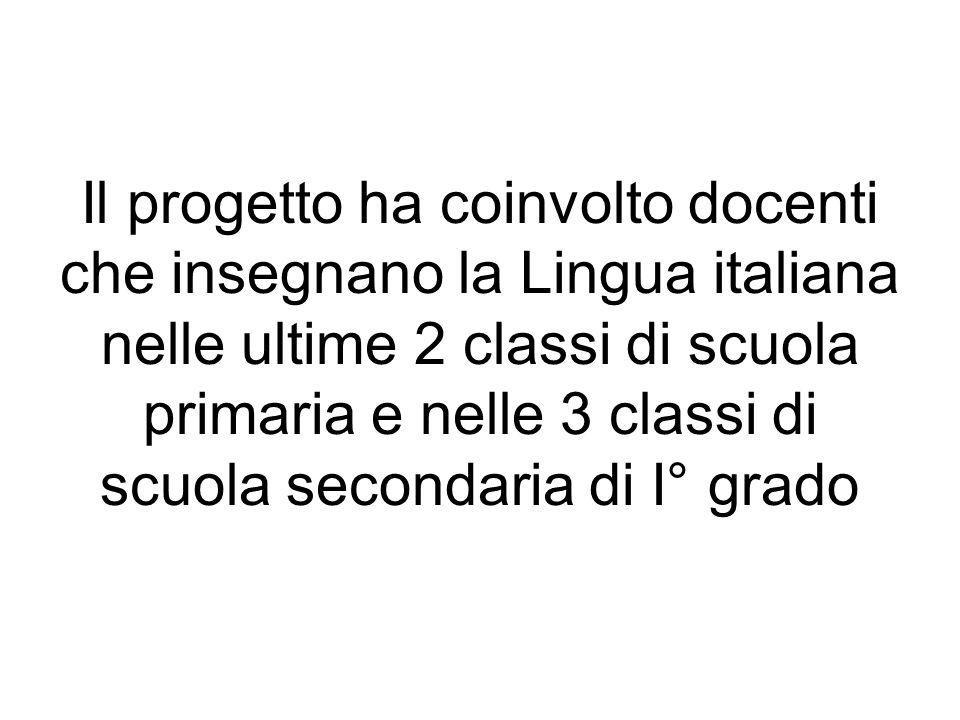 Il progetto ha coinvolto docenti che insegnano la Lingua italiana nelle ultime 2 classi di scuola primaria e nelle 3 classi di scuola secondaria di I°