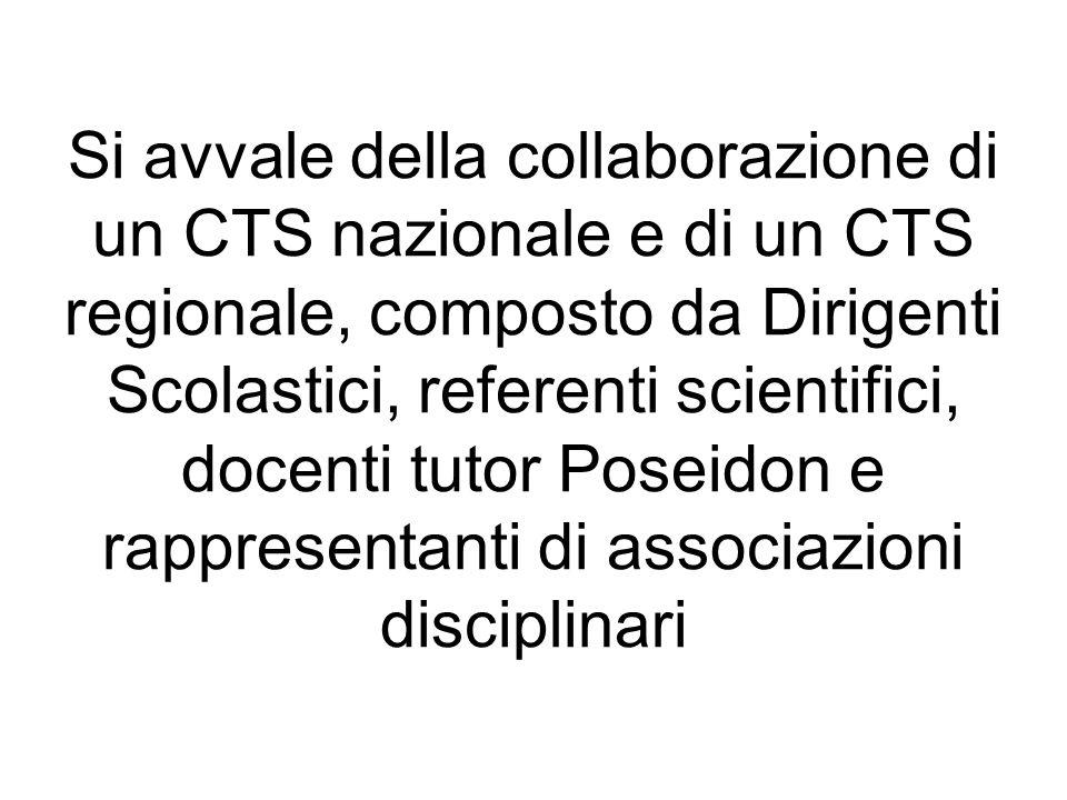 Si avvale della collaborazione di un CTS nazionale e di un CTS regionale, composto da Dirigenti Scolastici, referenti scientifici, docenti tutor Posei