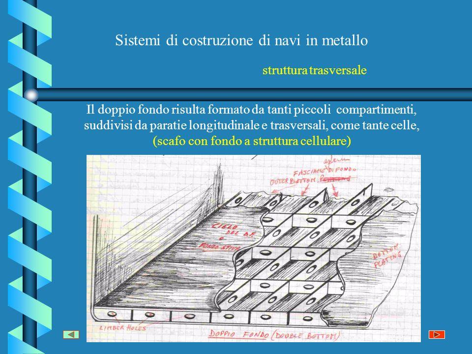 Sistemi di costruzione di navi in metallo Il doppio fondo risulta formato da tanti piccoli compartimenti, suddivisi da paratie longitudinale e trasversali, come tante celle, (scafo con fondo a struttura cellulare) struttura trasversale
