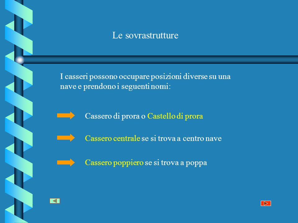 Le sovrastrutture I casseri possono occupare posizioni diverse su una nave e prendono i seguenti nomi: Cassero di prora o Castello di prora Cassero centrale se si trova a centro nave Cassero poppiero se si trova a poppa