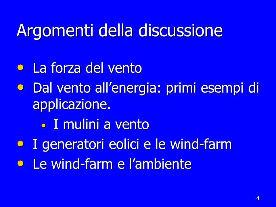 4 Argomenti della discussione La forza del vento La forza del vento Dal vento allenergia: primi esempi di applicazione.