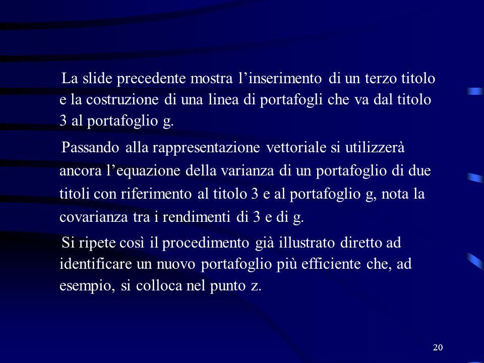 20 La slide precedente mostra linserimento di un terzo titolo e la costruzione di una linea di portafogli che va dal titolo 3 al portafoglio g. Passan