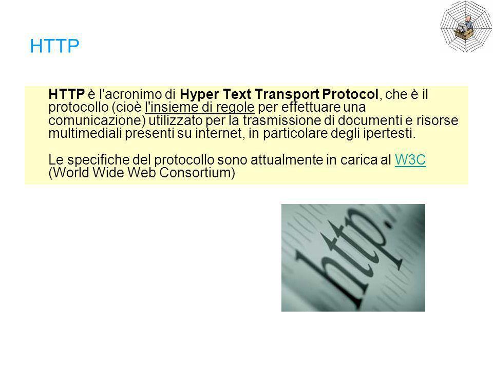 HTTP HTTP è l'acronimo di Hyper Text Transport Protocol, che è il protocollo (cioè l'insieme di regole per effettuare una comunicazione) utilizzato pe