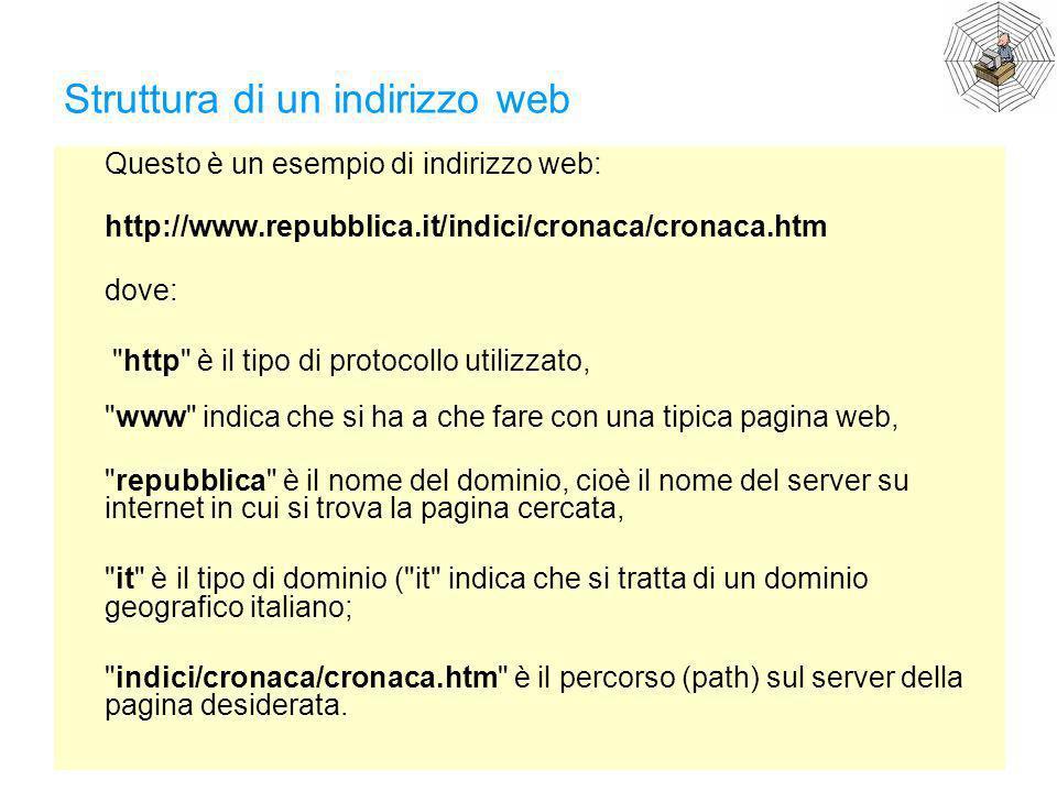 Struttura di un indirizzo web Questo è un esempio di indirizzo web: http://www.repubblica.it/indici/cronaca/cronaca.htm dove:
