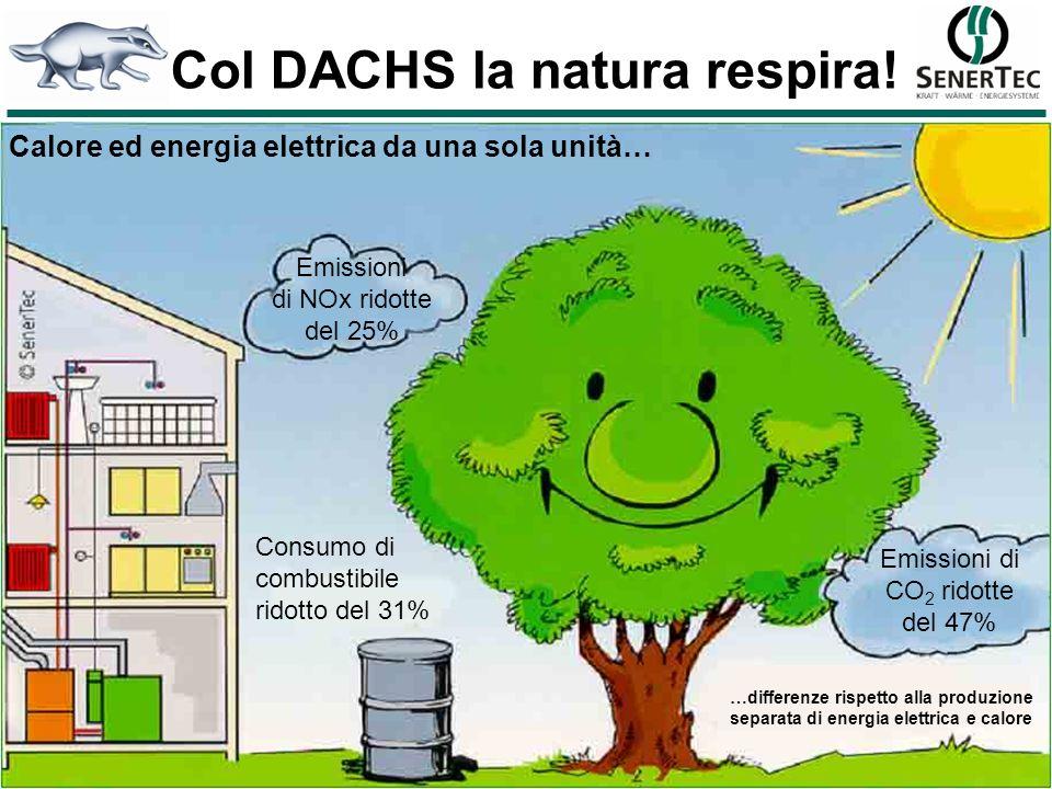 Calore ed energia elettrica da una sola unità… Emissioni di CO 2 ridotte del 47% Consumo di combustibile ridotto del 31% Col DACHS la natura respira!
