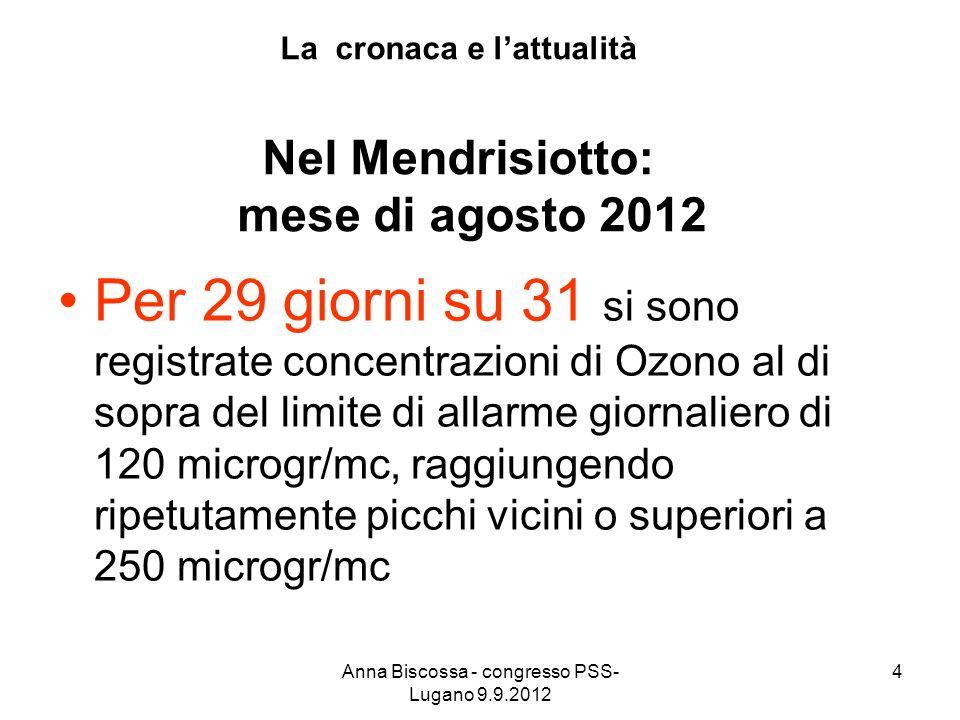 La cronaca e lattualità Nel Mendrisiotto: mese di agosto 2012 Per 29 giorni su 31 si sono registrate concentrazioni di Ozono al di sopra del limite di allarme giornaliero di 120 microgr/mc, raggiungendo ripetutamente picchi vicini o superiori a 250 microgr/mc 4